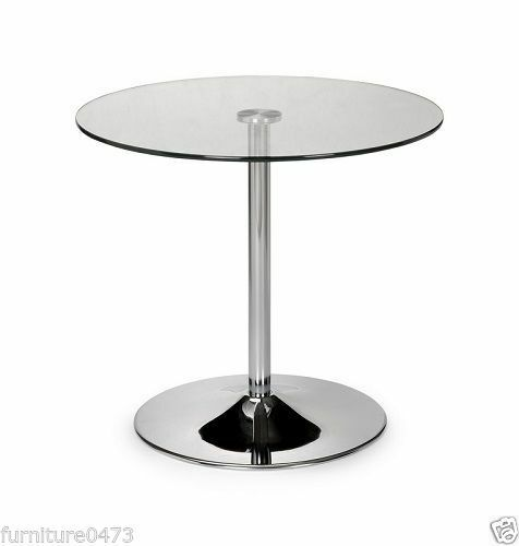 Glass Dining Table Dia 80cm x H73cm KUBO Chrome TABLE ONLY