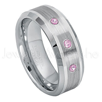October Birthstone Ring 8mm Brushed Comfort Fit Tungsten Carbide Ring Tungsten Tungsten Wedding Band Jewelry Avalanche 0.21ctw Diamond /& Pink Tourmaline Tungsten 3-Stone Ring
