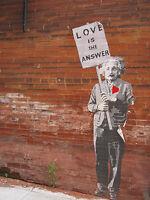 Banksy Love Is The Answer Albert Einstein Print Poster A0-A1-A2-A3-A4-A5-A6