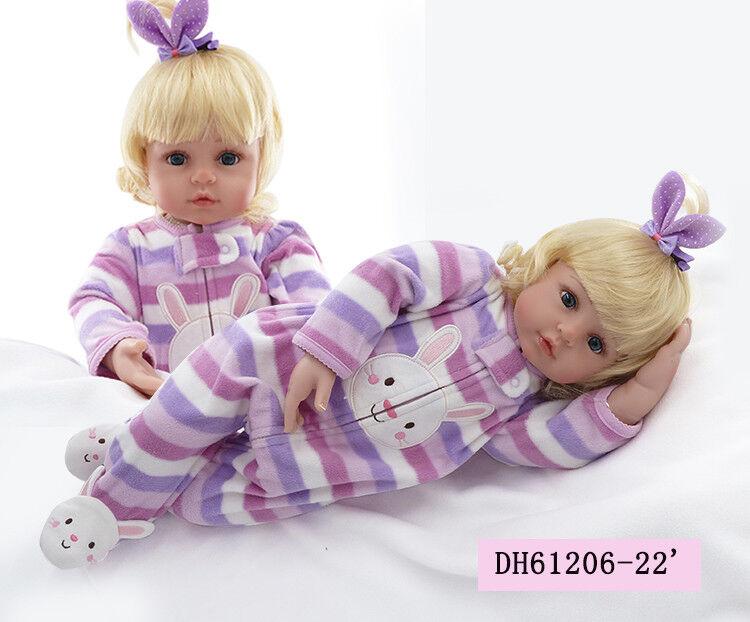 22  REAL realistici Neonato Bambola in silicone RINATO BABY GIRL bambole giocattoli regalo bambini @