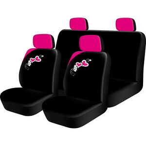 8pc PINK Hearts girly girl Car Seat full Cover Set universal covers ...