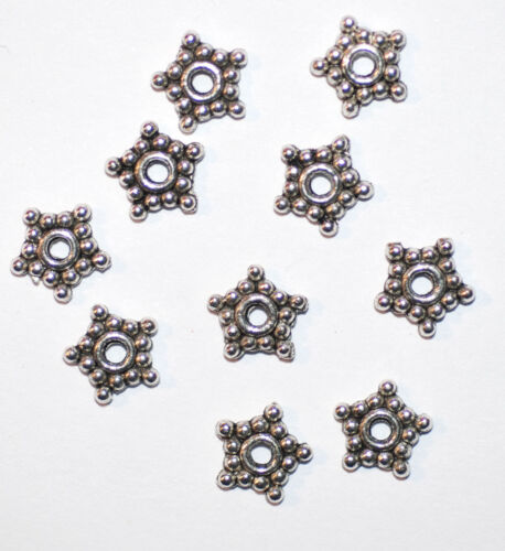 10 x Spacer Perlen Metall Blümchen silber 8 x 1mm