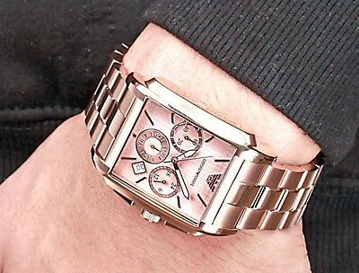 EMPORIO ARMANI AR0322 Rose Gold Chronograph Square Stainless Steel Men's Watch