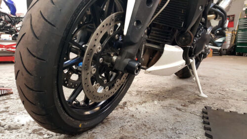 Triumph Speed Triple 1050 2011-2019 models MGS Fork Spindle Protectors Bobbins