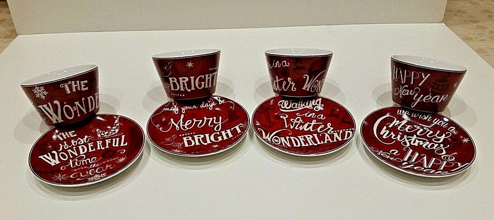 222 Fifth Christmas Tunes Holiday Porcelain Appetizer Plates Dessert Bowls Set