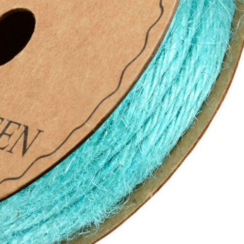 COLOURED HESSIAN BURLAP STRING FULL REEL10m x 2mm CRAFT RIBBON GREY BLUE GREEN