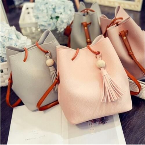 2Pcs Women PU Leather Bucket Tassel Shoulder Tote Messenger Bags Purse SO
