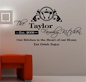 Image Is Loading PERSONALISED KITCHEN Vinyl Wall Art QUOTE Sticker Heart