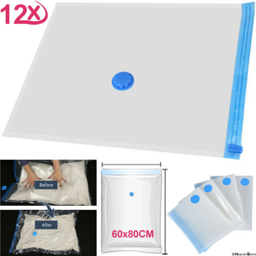 Heavy Duty 60 x 80cm Vacuum Seal Storage Bags Space Saving Cloths Travel Bedding