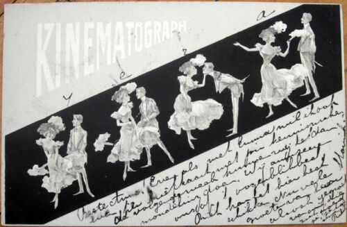 1901 Postcard CinematographKinematograph Movie Camera, Couple Dancing, Litho