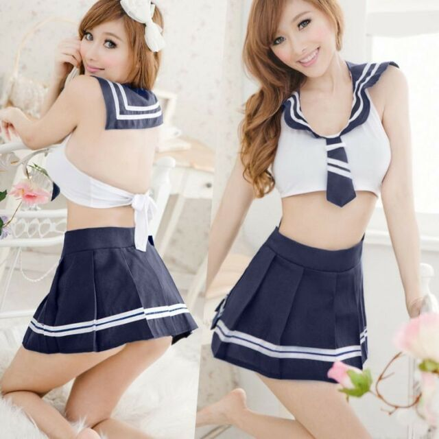 Lady's School Dress Student Uniform Fancy Costume Skirt Outfits Sexy Lingerie