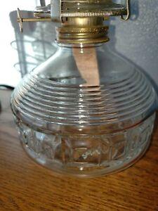 Antique-Vintage-Clear-Glass-Oil-Kerosene-Hurricane-Lamp-Burner-14-inches-tall