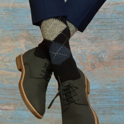 Ethan 3 Pairs of Men/'s Argyle Wool Cashmere Socks