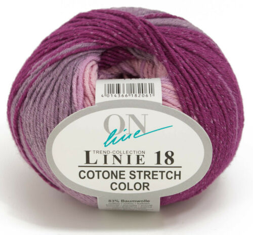 9,90€//100g LINIE 18 COTONE STRETCH color 50g Langrapportiger Farbverlauf