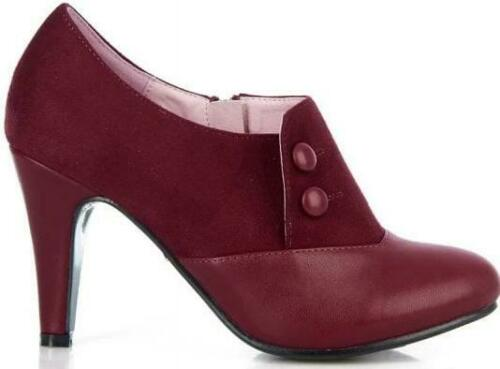 Collectif 40s Maria Faux Suede Burgundy Red Shoe Boots