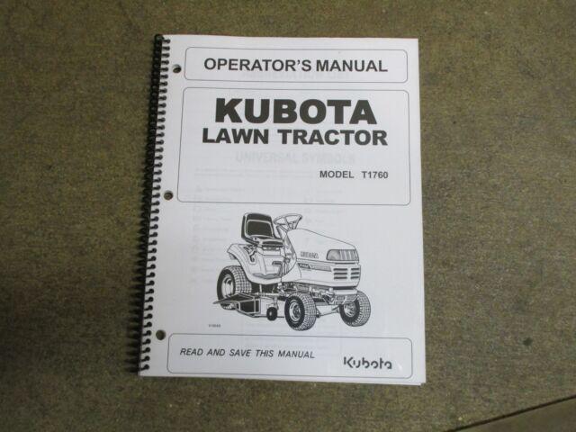 Kubota T1760 T 1760 Lawn Tractor Owners  U0026 Maintenance