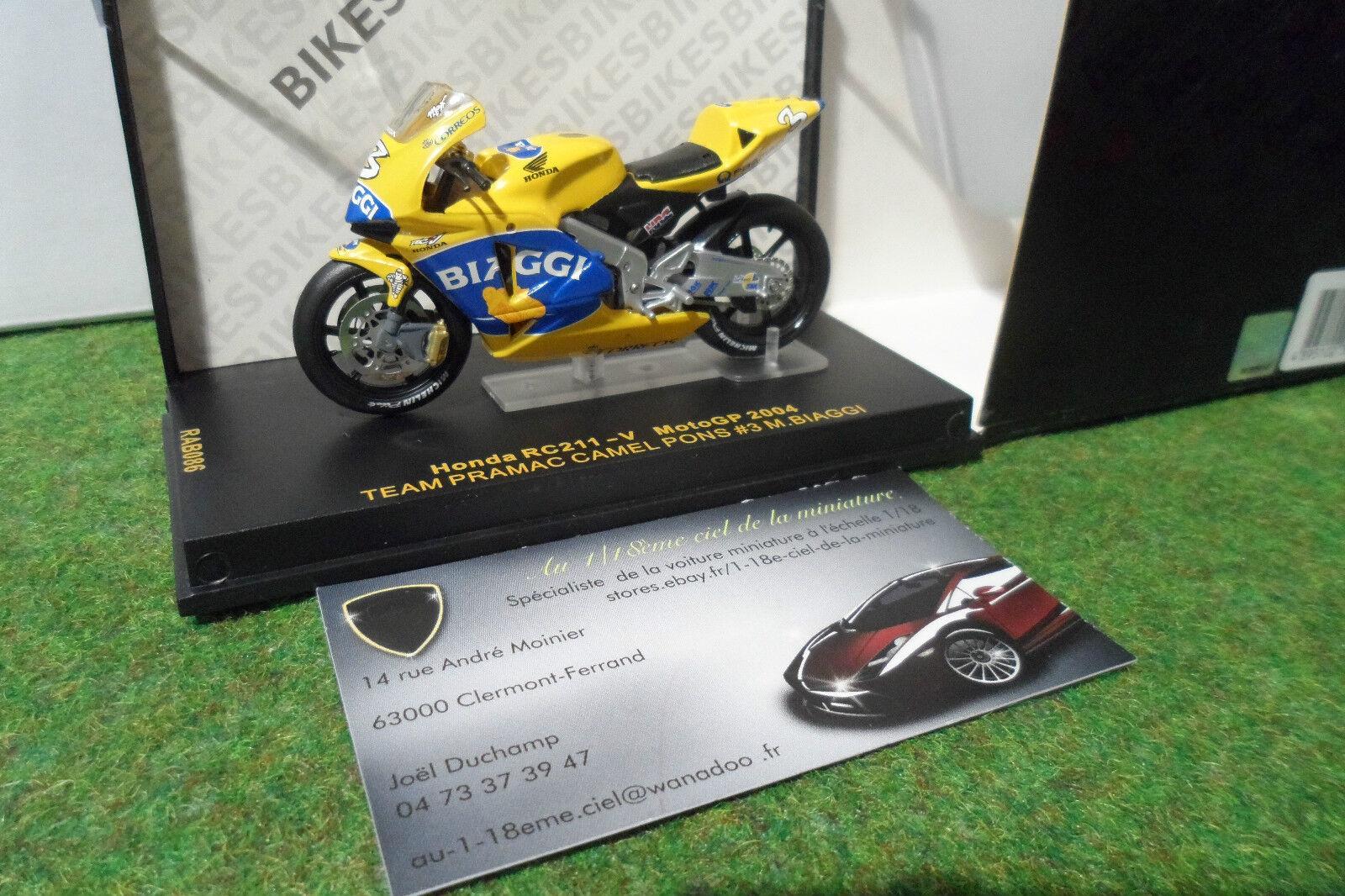 MOTO HONDA RC211-V MotoGP 2004 BIAGGI au 1 24 IXO RAB086 miniature