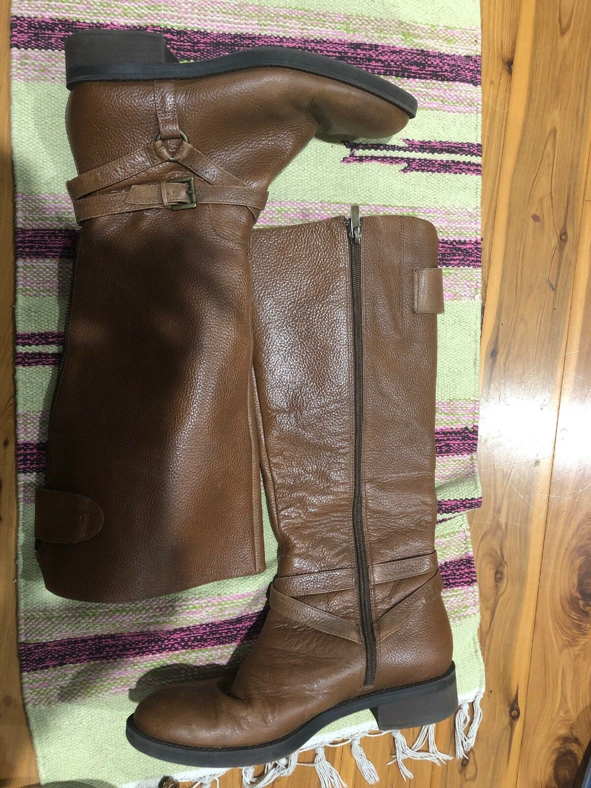 Women's 9 Enzo Angiolini Easaevon Brown Leather Tall Knee High Riding Boots