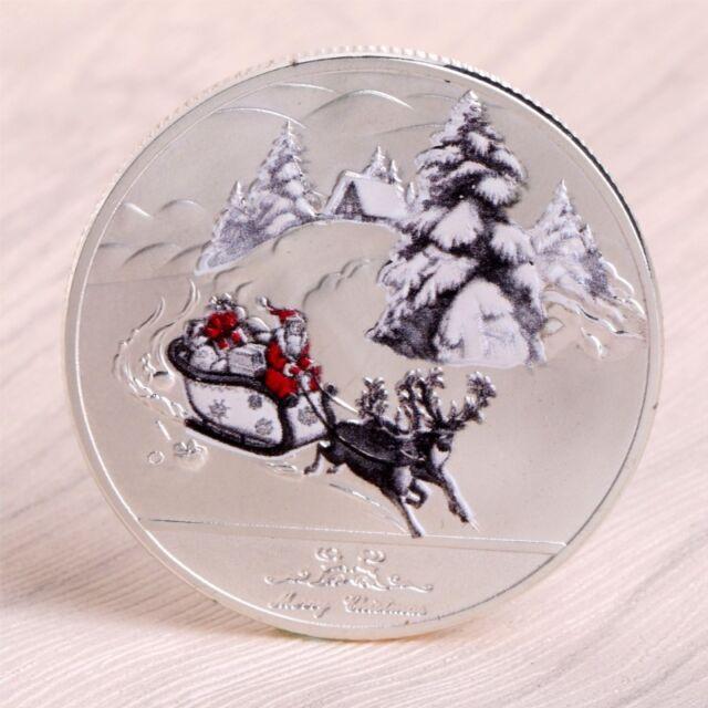 Merry Christmas Deer Santa Claus Sleigh Commemorative Coins Silver Souvenirs