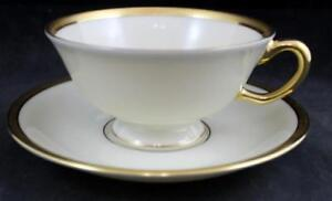 Lenox-TUXEDO-Cup-amp-Saucer-Flaired-at-Top-Gold-Backstamp-J-33-GREAT-CONDITION