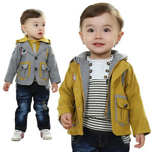 Toddler Boy 3 PC Outfit Set Formal Casual Suit Size 1-3 Years Jacket+Top+Jea<wbr/>ns!!