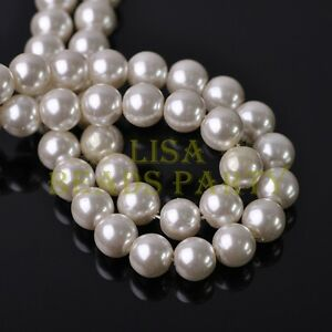 20pcs-10mm-Lacquer-Pearl-Beige-White-Round-Czech-Glass-Loose-Spacer-Beads-Lot