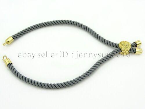 Adjustable 2mm Rope Slider Cord Tree of Life Bracelet Silver Gold Rose Gold