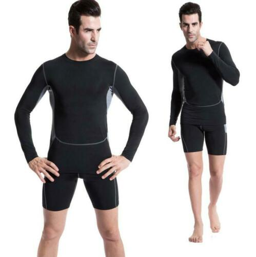 Mens Sports Compression Fitness Workout Tights Base Layer Shirts Cool Dry Tops