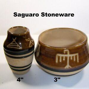 Saguaro-Stoneware-Pottery-Bowl-Vase-Cup-Set-of-2-Vintage-Glazed-Brown-Southwest