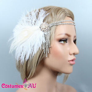 1920s-Headband-Feather-White-Bridal-Great-Gatsby-20s-Flapper-Headpiece-Gangster