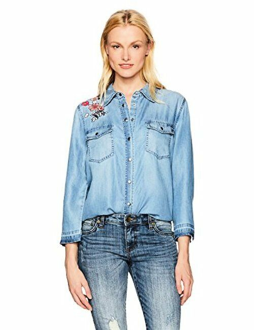 NYDJ Womens Collection MCHM3675 Embroidered Denim Shirt- Choose SZ color.