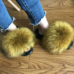 22f461dcbb70b Details about Proud Yellow- Real Raccoon Fox Fur Slides Slipper Sandals  Flat Shoes