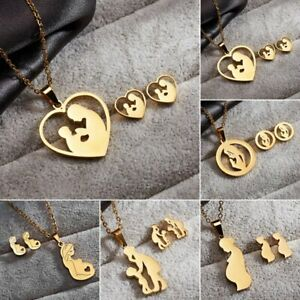 New-Mother-Heart-Stainless-Steel-Women-Jewelry-Set-Gold-Chain-Necklace-Earrings