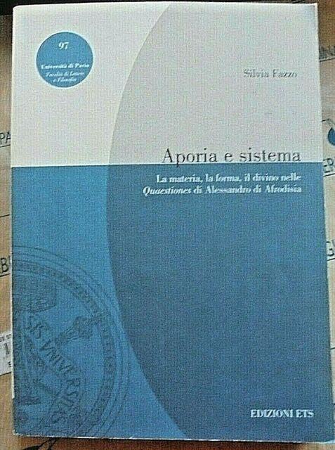 APORIA E SISTEMA - SILVIA FAZZO - EDIZIONI ETS   2002