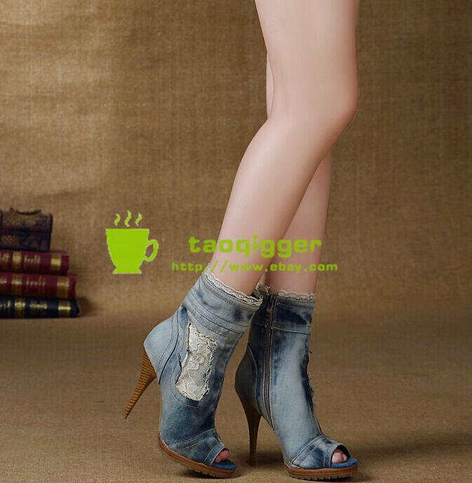 Retro Mujeres Peep Peep Peep Toe Tacón Tobillo botas de Jean Denim Slim Roma Sandalias Talla 9 Nuevo  bajo precio del 40%