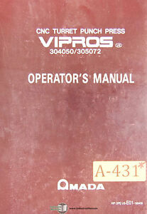 Details about Amada Vipros, Punch Press Programming Operations Maintenance  and Parts Manual