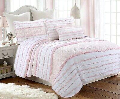 Pink Princess Ruffled 100 Cotton Quilt Set Bedspread Coverlet Ebay