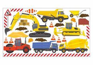 Das Bild Wird Geladen Nikima 048 Wandtattoo Baumaschinen Bagger LKW Baustelle Kinderzimmer