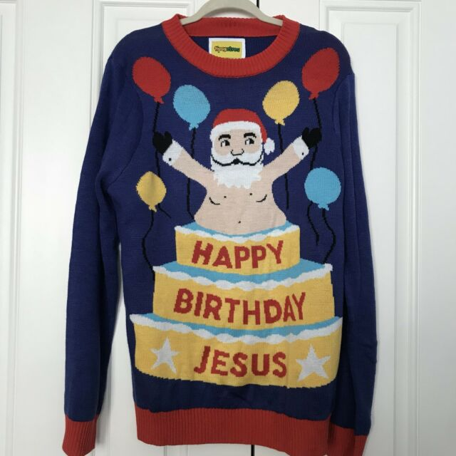 Happy Birthday Jesus Sweater Green Sweaters Tipsy Elves Mens