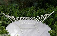 Miniature Dollhouse FAIRY GARDEN Furniture ~ Cream Metal Hammock ~ NEW