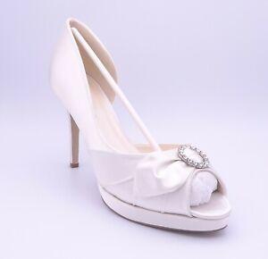 Ivory Satin Wedding Shoes Size UK