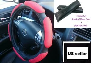 Red-Cushion-Black-Leather-Steering-Wheel-Cover-Seat-Belt-Cover-Set-3-top