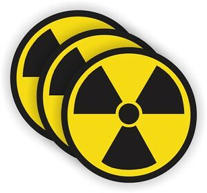 (3) Radiation Symbol Hard Hat Stickers | Helmet Decals | Radioactive Motorcycle