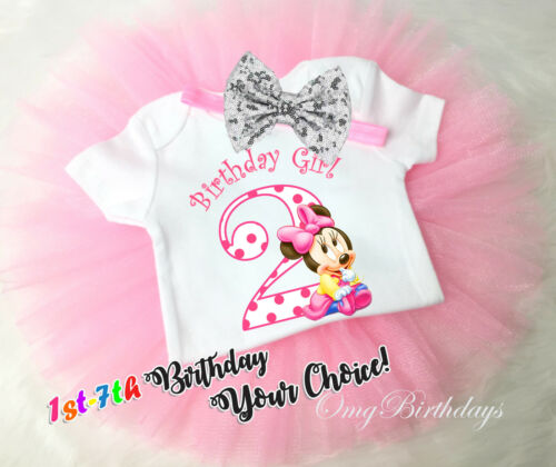 Custom 1st 7th Birthday Girl Tutu Outfit Pink Baby Minnie Mouse Polka dots