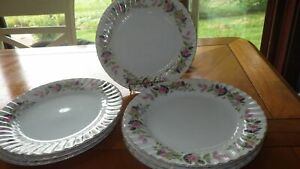 "Regency Rose Luncheon Plates by Creative China pattern 2345 8 9"" plates EUC"