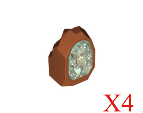Lego Dark Orange Rock 1 x 1 Geode Trans-Light Blue Crystal Pattern Lot of 4