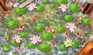 3D Koi estanque de loto Papel Pintado Mural Parojo Impresión de suelo 815 5D AJ Wallpaper Reino Unido Limón