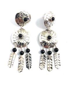 Native-American-Sterling-Silver-Navajo-Black-Onyx-Feather-Dangle-Earrings