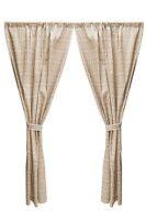 Cocalo Capri Window Drapes W/ Back Tie Backs Geometric Designs Cotton Brown