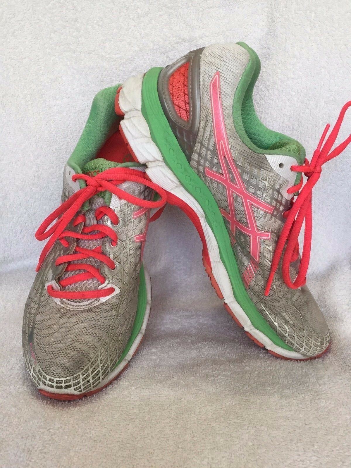 Asics Gel Nimbus T557N Pink White Green Running Womens 9.5 Shoes Comfortable and good-looking